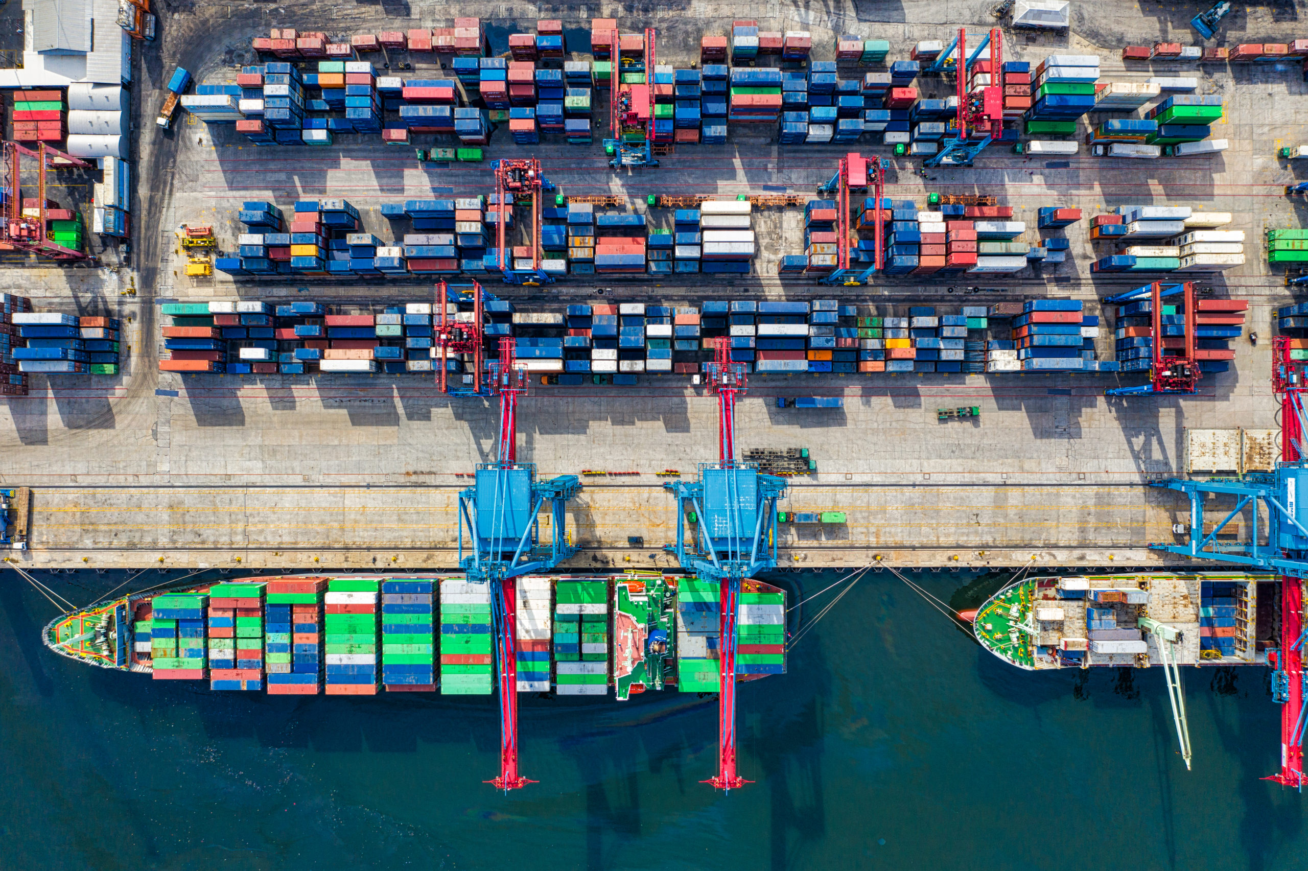 Birds eye view of freight containers